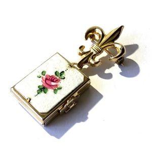 Rare Fleur-de-lis Coro Picture Locket Pin